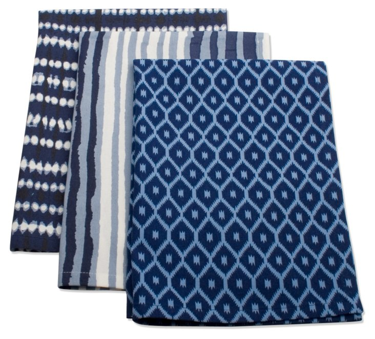 S/3 Assorted Dish Towels, Blue
