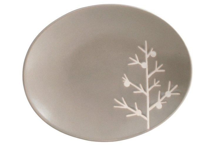 S/4 Gray Tree Appetizer Plates