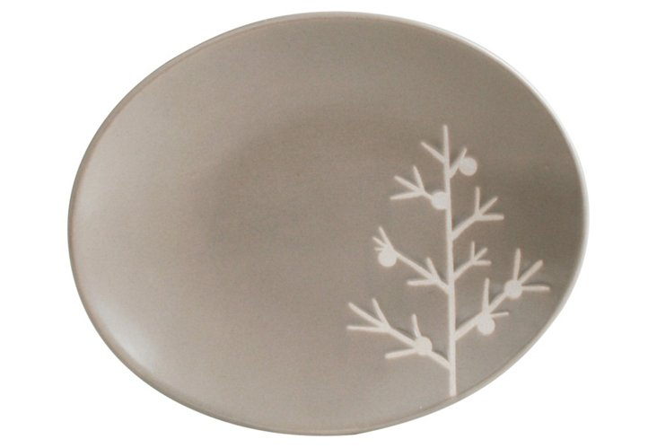 S/4 Tree Appetizer Plates, Gray