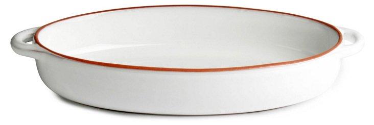 Terra Glazed Oval Baker, Red Trim