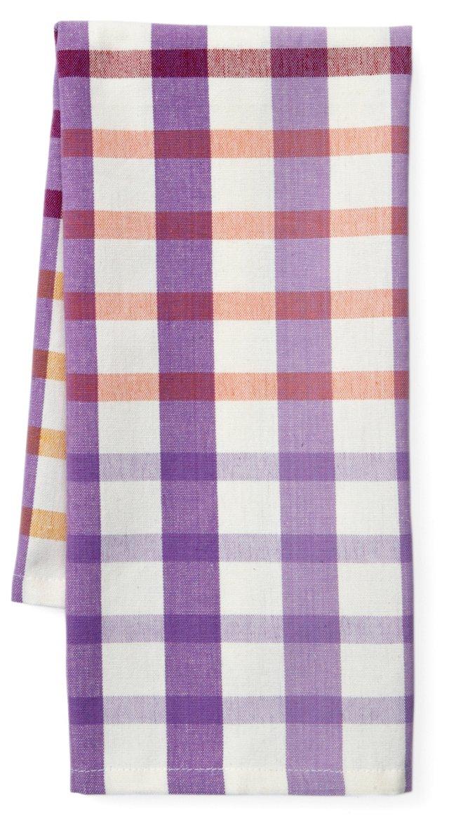 S/4 Ariel Plaid Dish Towels, Lilac
