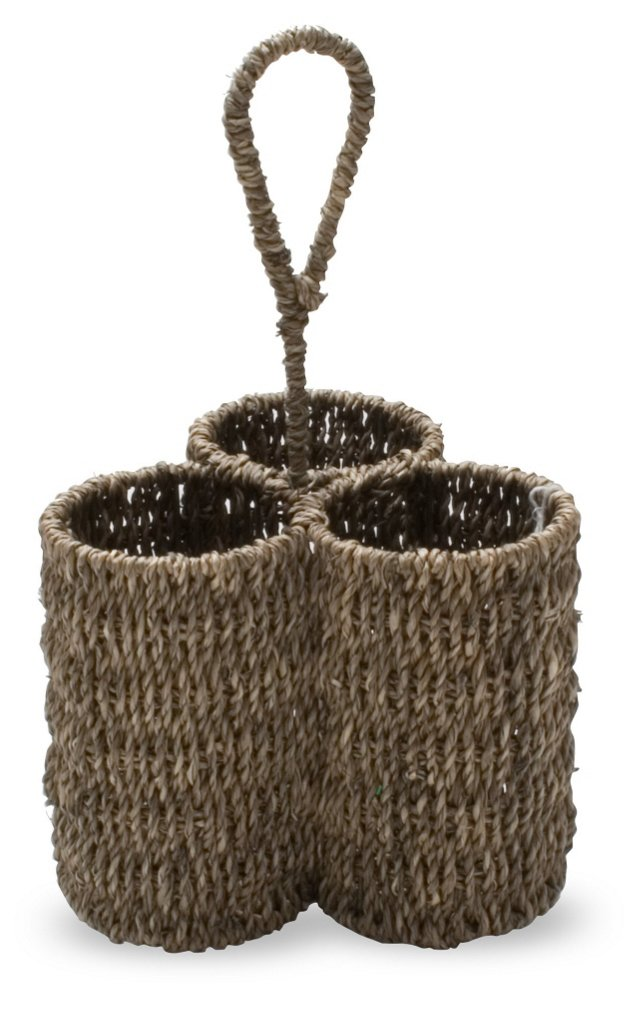 3-Section Sea-Grass Handled Caddy