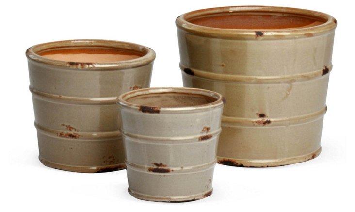 Asst. of 3 Glazed Planters, Cream