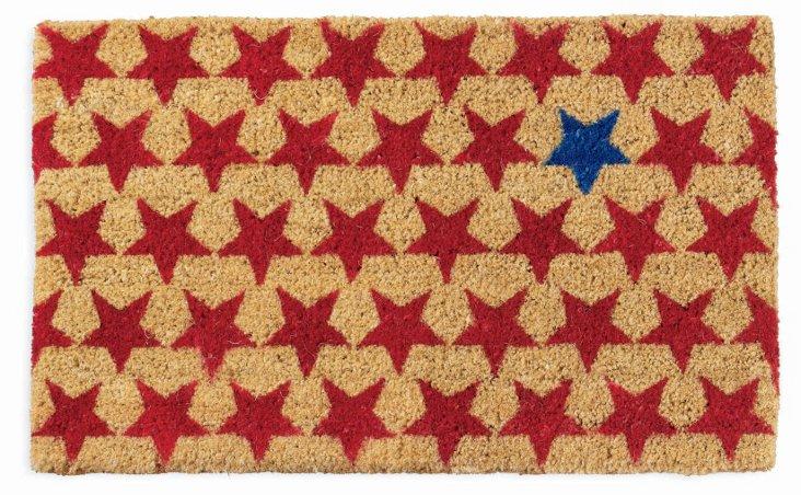 """1'6""""x2'6"""" Stars Coir Mat, Red/Blue"""