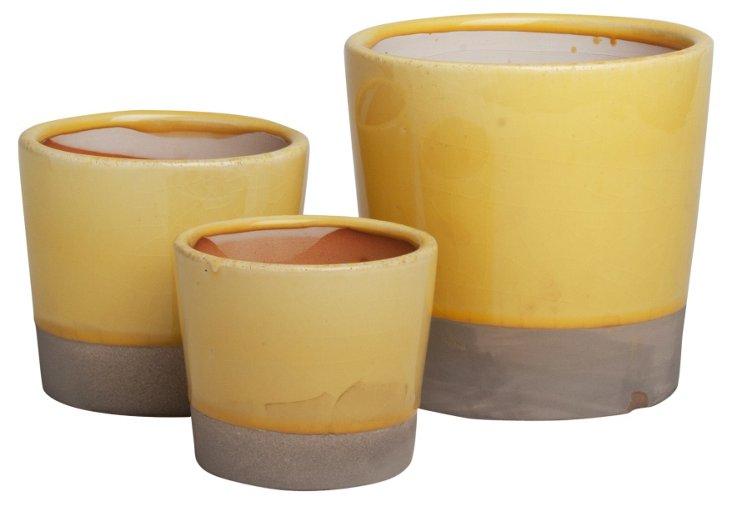 S/3 Terracotta Garden Pots, Yellow