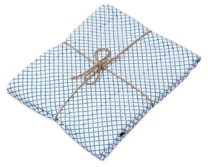 Queen Flat Sheet, Teal & Charcoal