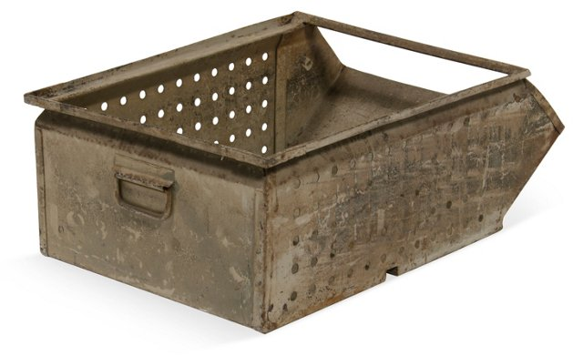 Perforated Metal Box, Gray