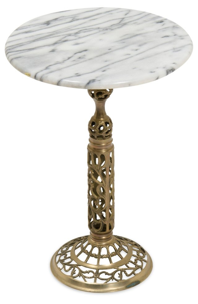 Marble & Brass Accent Table