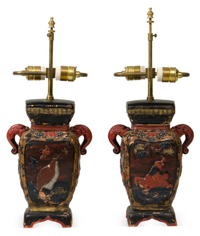 Chinese Ceramic Table Lamps, Pair