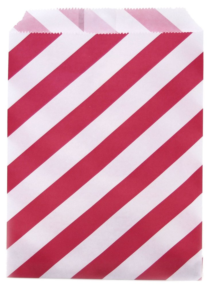 S/96 Striped Party Favor Bags, Red