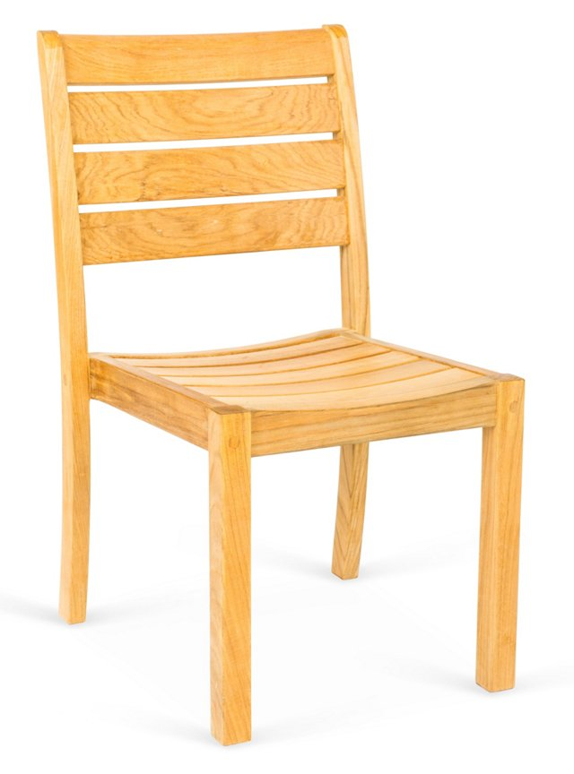 Teak Stacking Side Chairs, Set of 4