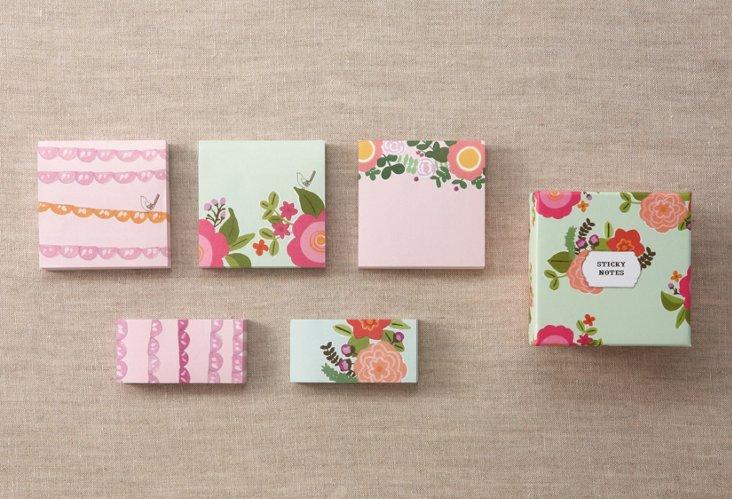 S/5 Floral Sticky Note Pads