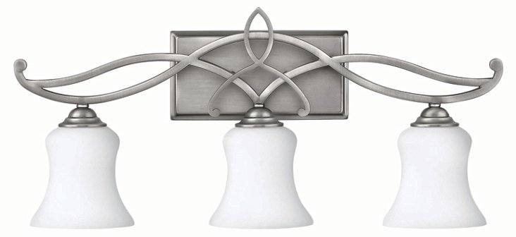 Brooke 3-Light Vanity, Antiqued Nickel
