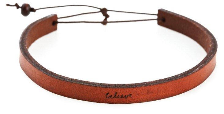 'Believe' Adjustable Leather Bracelet