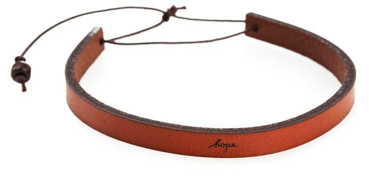 'Hope' Adjustable Leather Bracelet