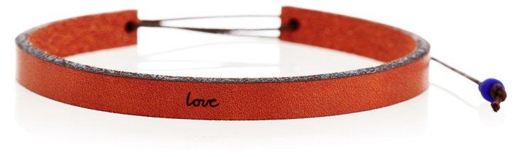 'Love' Adjustable Leather Bracelet