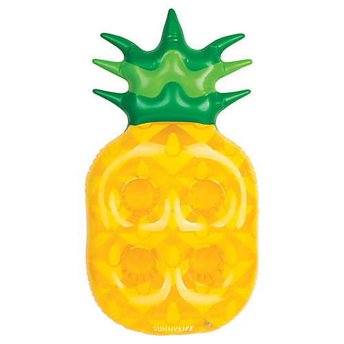 Inflatable Pineapple Drink Holder, Yellow/Green