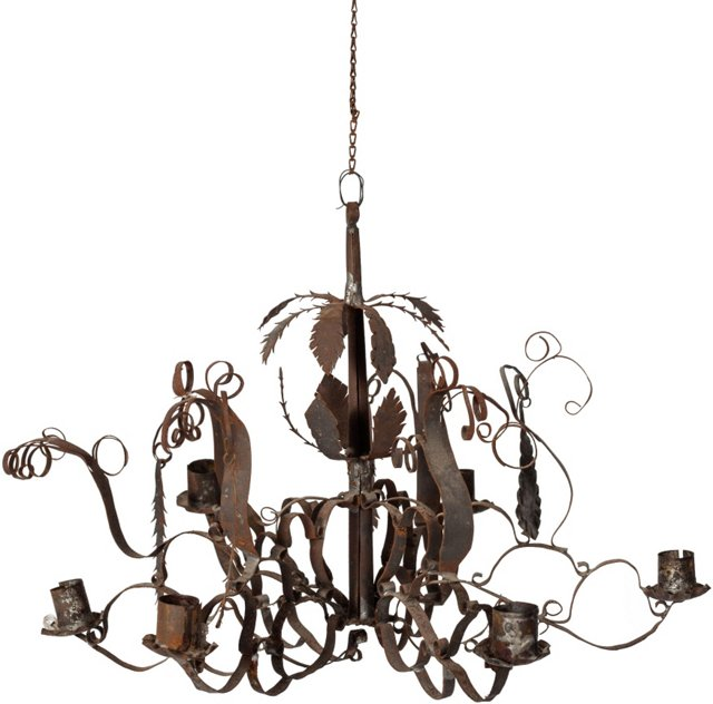 Small Antique Tin Chandelier