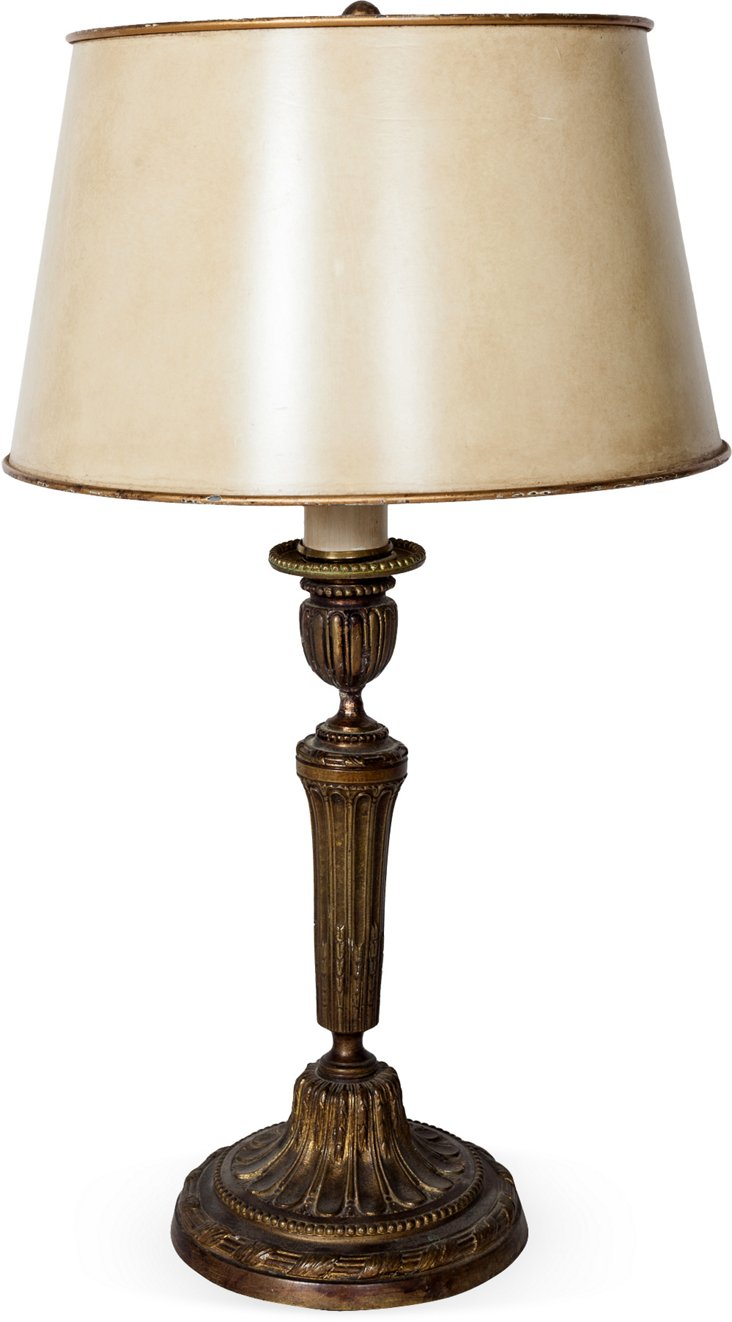 Brass Lamp w/ Tole Shade