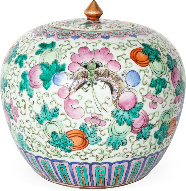 19th-C. Chinese Export Ginger Jar