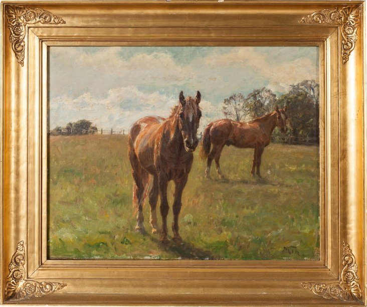 Antique Framed Horse Painting