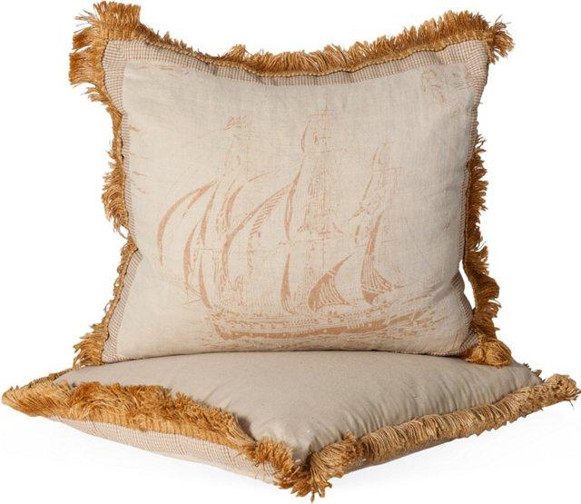 Sailboat Linen Pillows, Pair