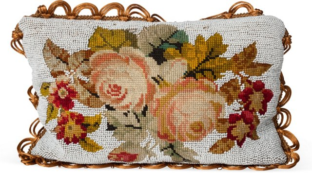 Antique Beaded Floral Pillow