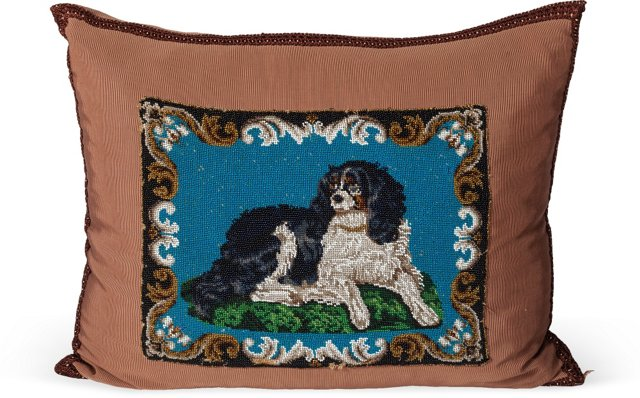 Antique Beaded Spaniel Pillow