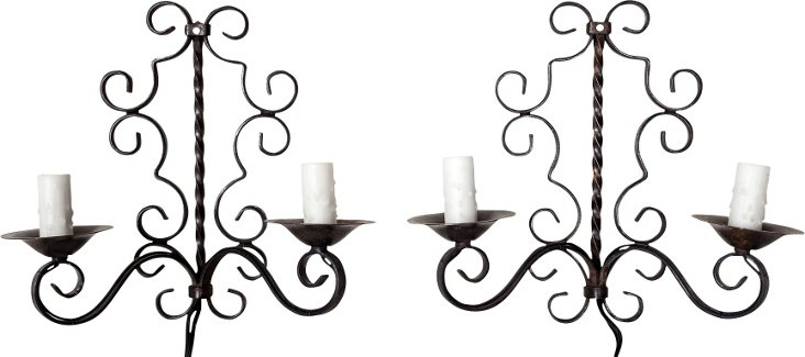 French Iron Wall Sconces, Pair I