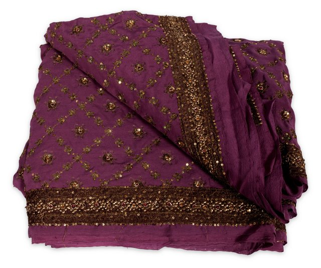 Purple & Gold Silk Indian Sari, 5 Yards