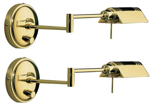 Swing-Arm Wall Sconces, Pair