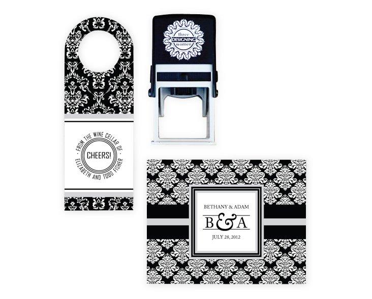 Custom Stamp & Black Wine Tags/Notecards