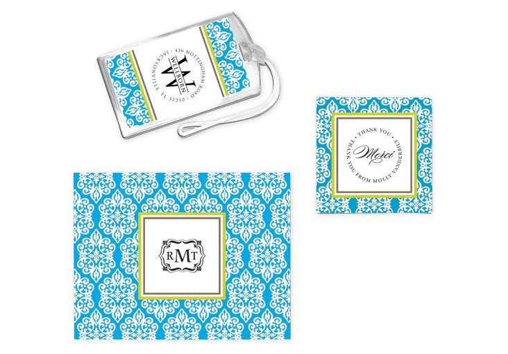 Blue Notecards, Stickers & Luggage Tags