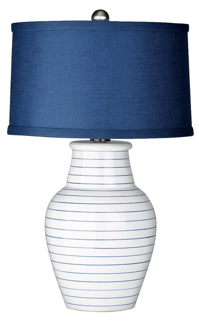Redondo Beach Table Lamp, White/Navy