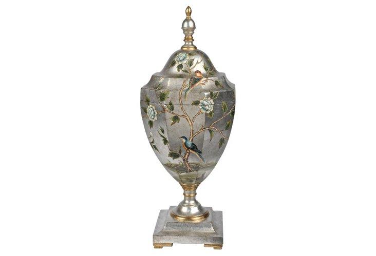 Silver Leaf Songbird Urn