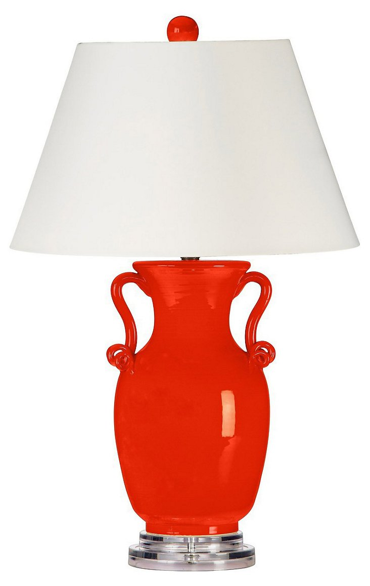 Scroll Table Lamp, Tangerine Glaze