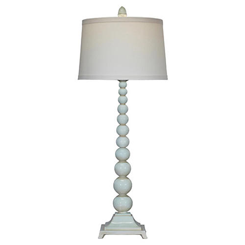 Chloe Stacked Buffet Lamp, Aqua