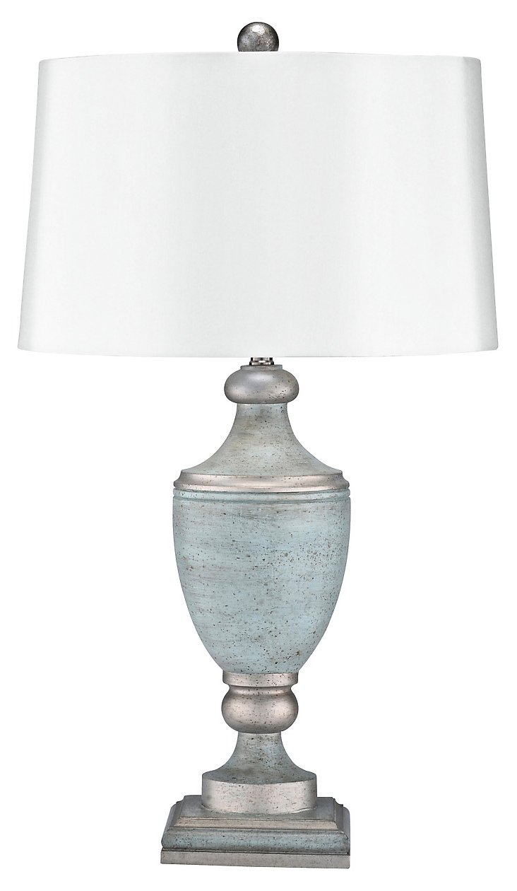 French Riviera Table Lamp, Blue/Silver