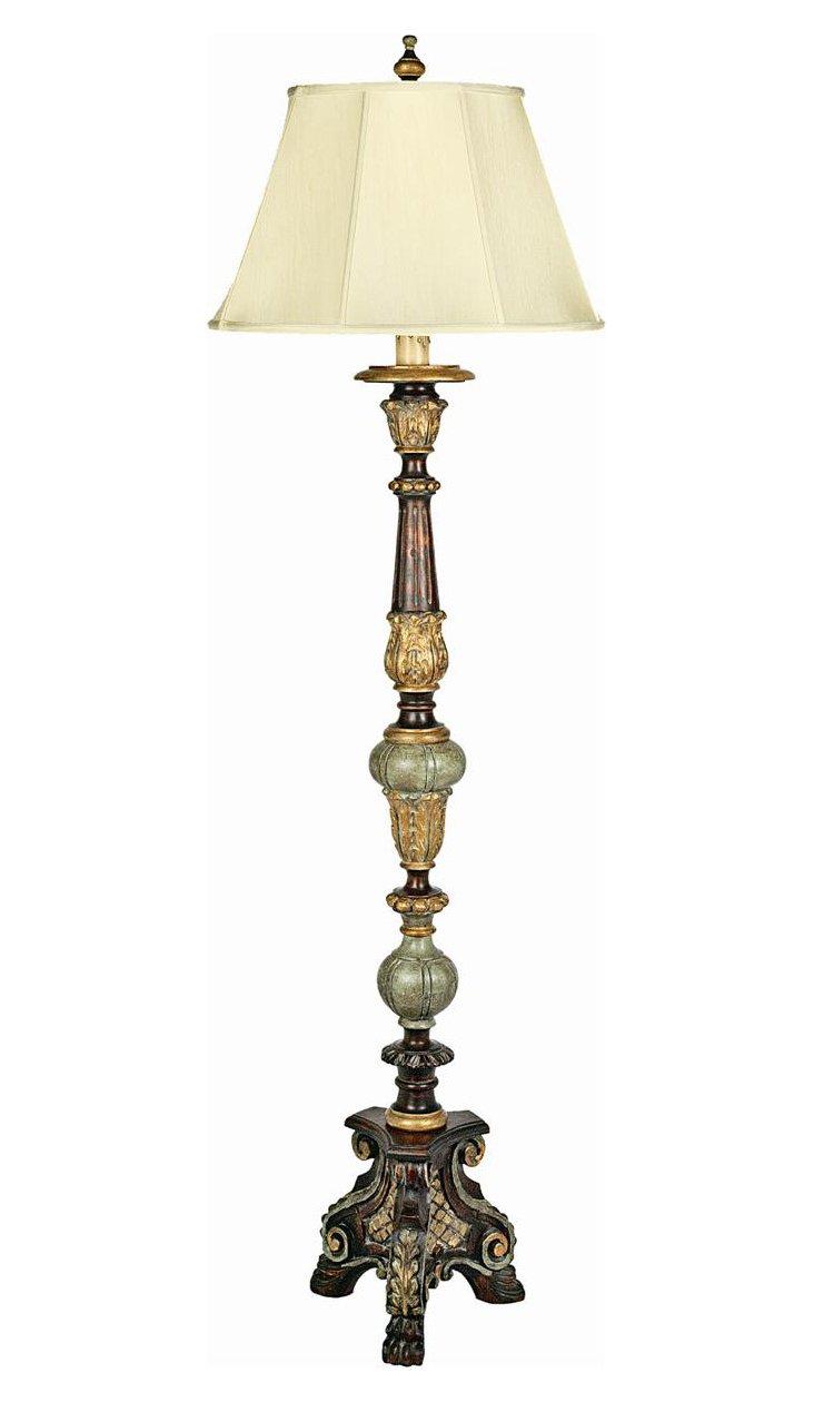 King's Walk Floor Lamp, Gold Leaf