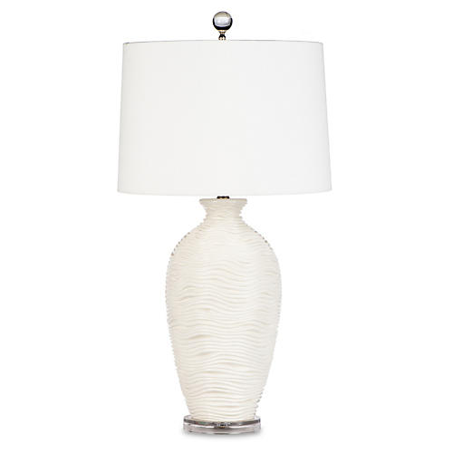 Alabaster Vanna Table Lamp, White