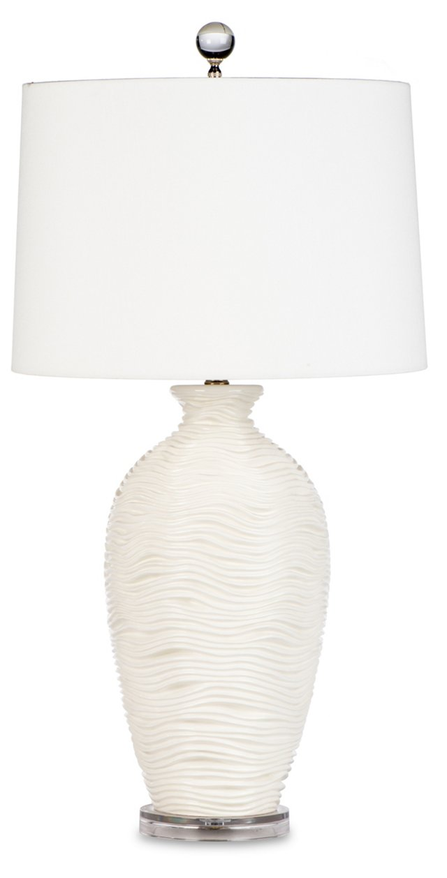 Alabaster Wave Table Lamp, White