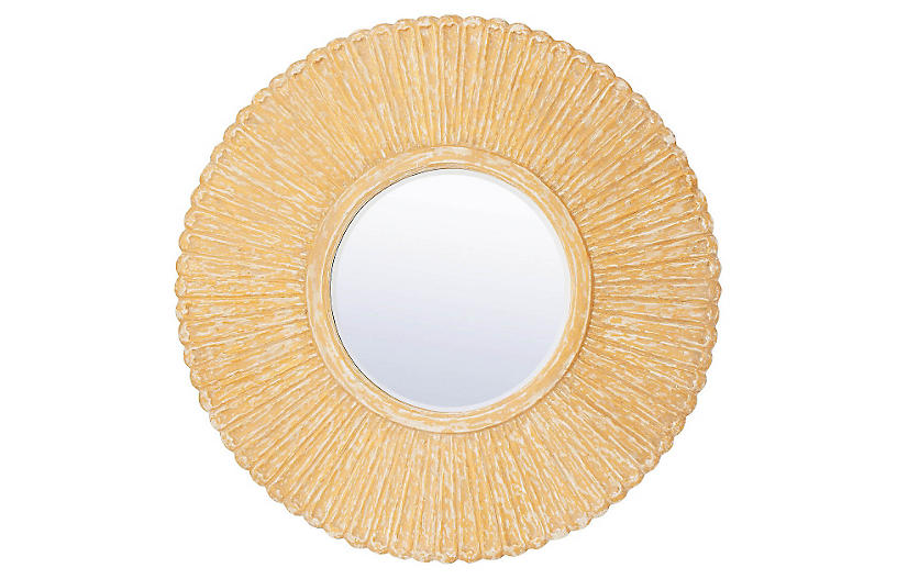 Provance Sunburst Wall Mirror, Blonde