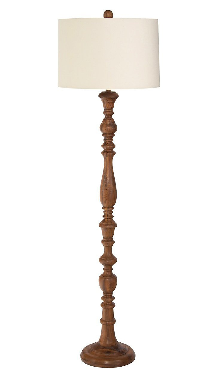 Floridian Floor Lamp, Natural Teak