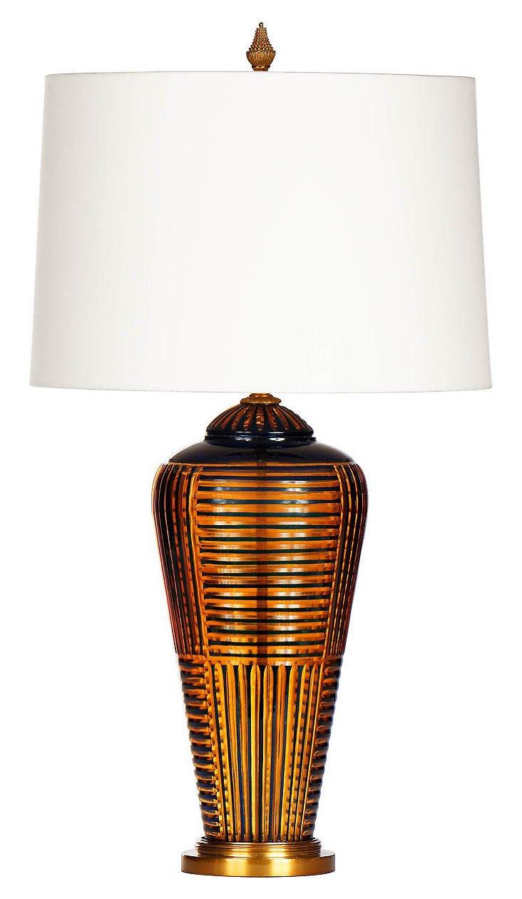 Novo Table Lamp, Cobalt/Amber