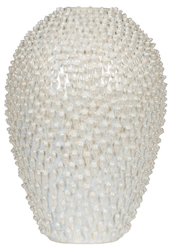 "19"" Ocean Fire Vase, Mother of Pearl"