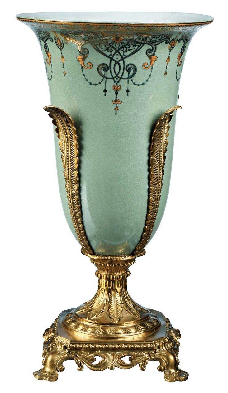 "16"" Romanov Vase, Celadon/Gold/Brass"