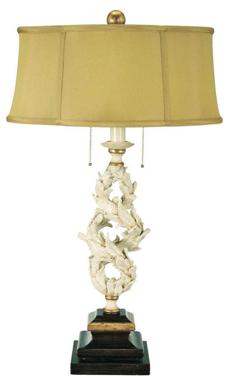 Tropez Twist Lamp, Cream/Gold Leaf