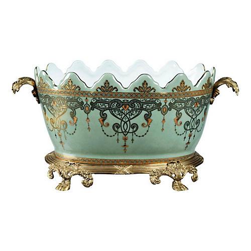 "16"" Romanov Bowl, Celadon/Brass"