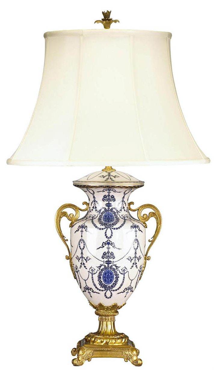Maison Blue Table Lamp, Blue/White