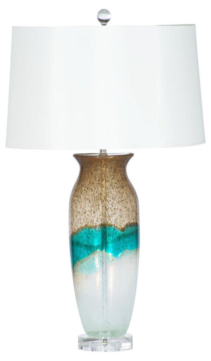 Surfside Table Lamp, Caramel/Turquoise